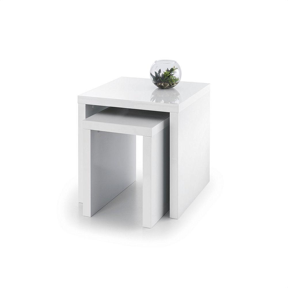 Metro High Gloss Coffee Table White: Julian Bowen Metro High Gloss Nest Of Tables