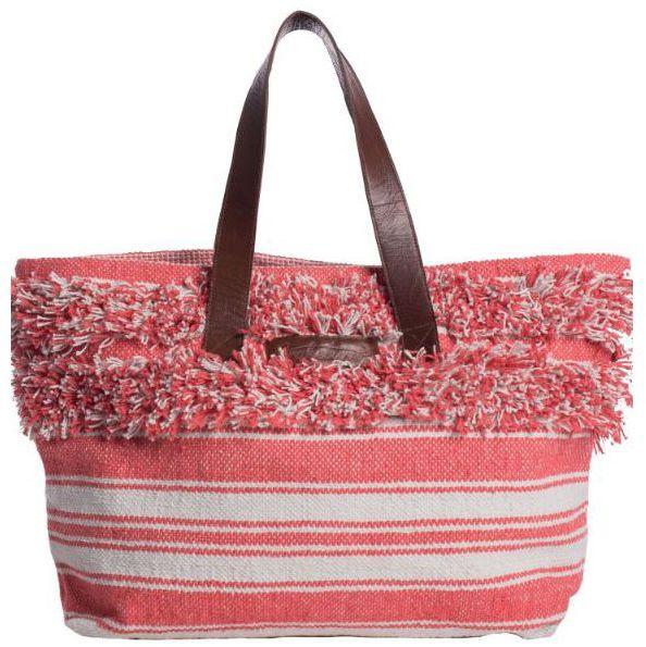 Brakeburn Stripe/Fuzzy Boho Coral Beach Bag   Oldrids & Down ...