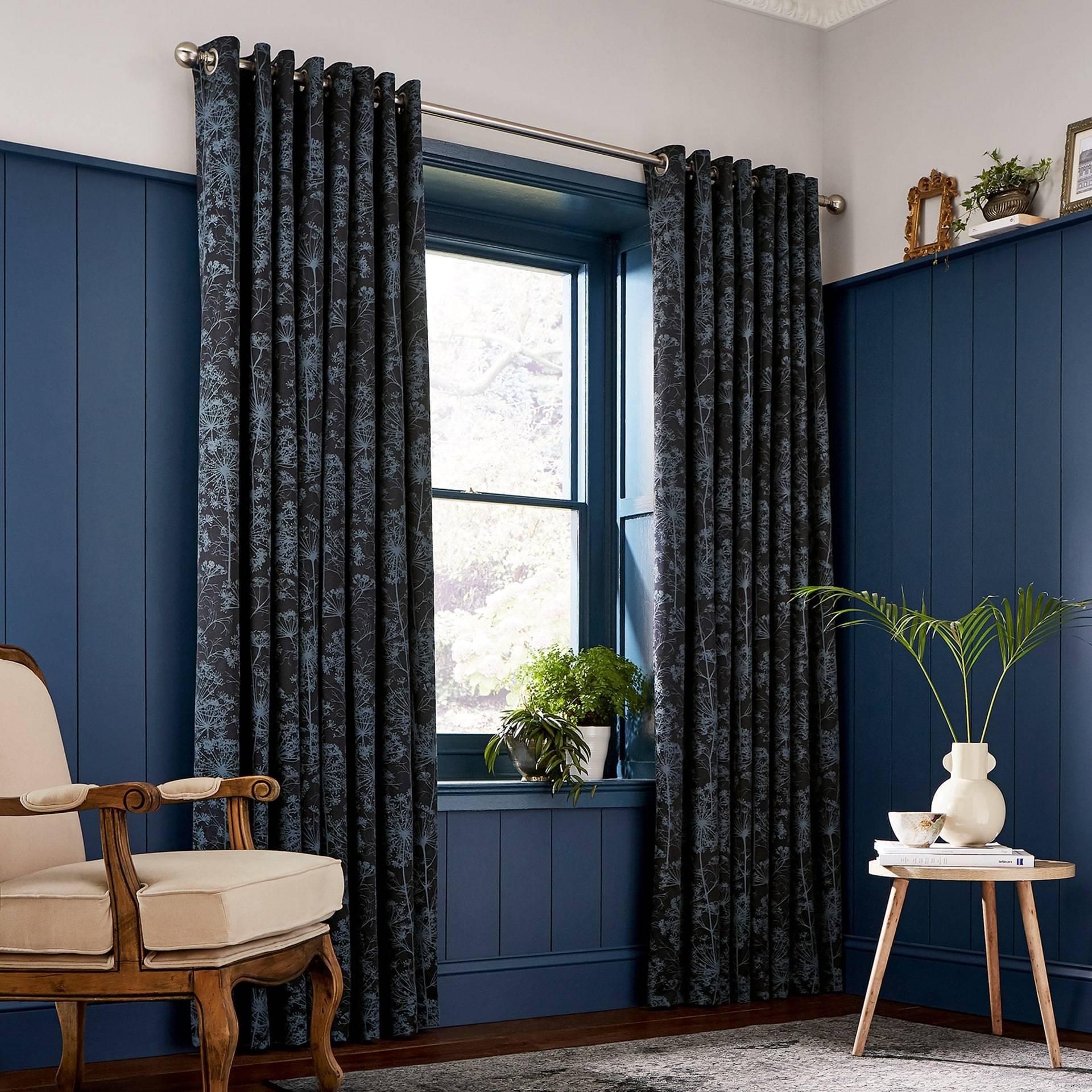 Clarissa Hulse Dill Lined Curtains Dark Blue Oldrids