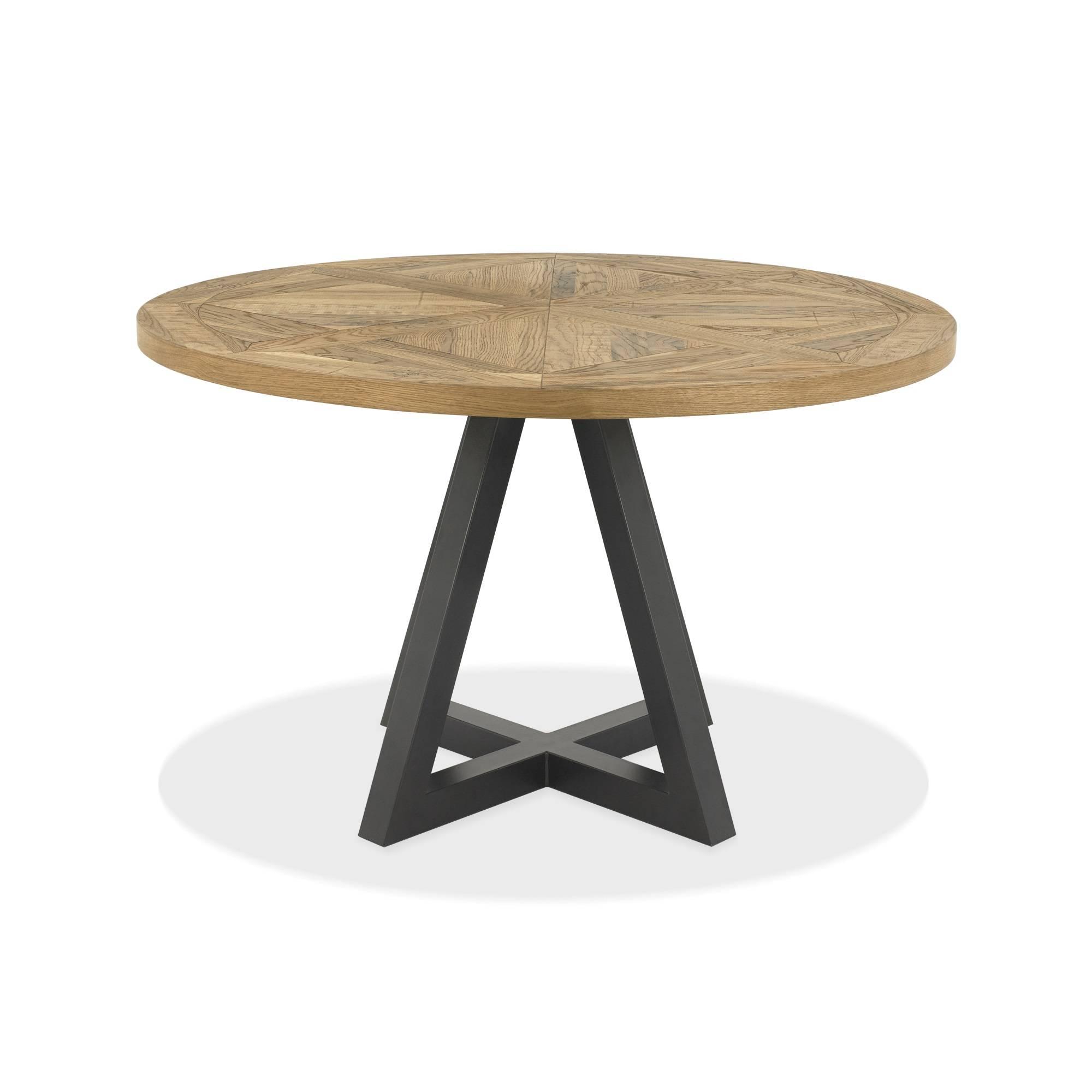 Vancouver Rustic Oak Circular Dining Table : Oldrids & Downt