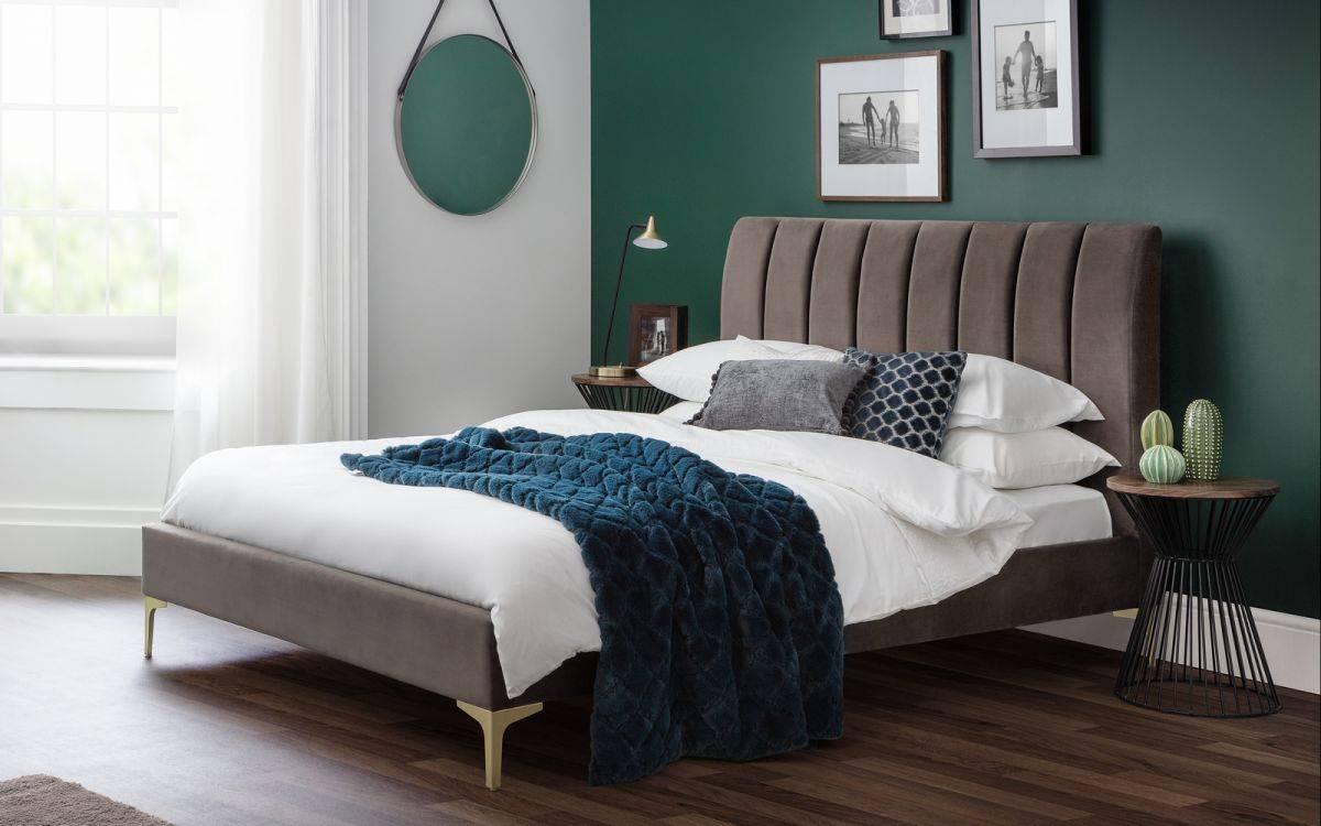 Julian Bowen Deco Scalloped Velvet Bed Frame Oldrids
