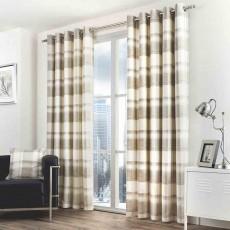 Fusion Balmoral Check Eyelet Nautral Curtains