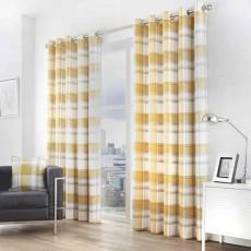 Fusion Balmoral Check Eyelet Ochre Curtains