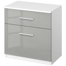 Stuttgart Soft Grey/Alpine White 2 Drawer Bedside Table
