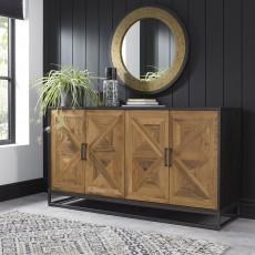 Vancouver Rustic Oak & Peppercorn Wide Sideboard