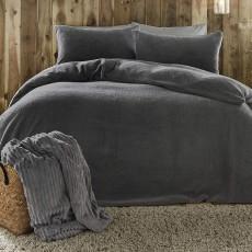 Fusion Teddy Fleece Charcoal Duvet Cover Set