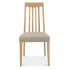 Brampton Oak Slat Back Grey Bonded Leather Chair (Pair)