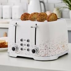Tower T20069Tan Terrazzo 4 Slot Toaster - White