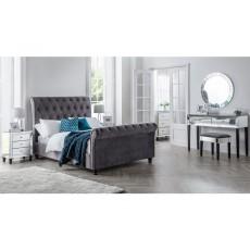 Julian Bowen Valentino Velvet Sleigh Bed - Grey